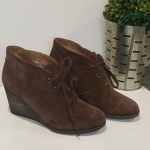 Lucky Brand Wedge Booties - Brown Suede Uppers